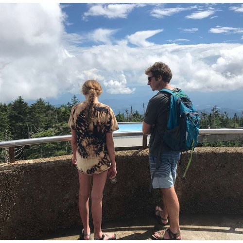 Father and daughter. At 6,643 feet, Clingmans Dome is the highest point in the Great Smoky Mountains National Park.
