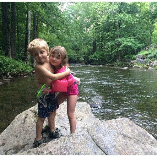 Cousins having fun at Deep Creek in the Great Smoky Mountain National Park