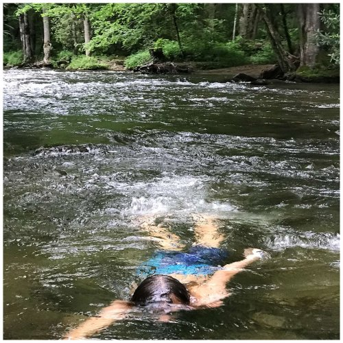 Cooling off on a hot summer day at Deep Creek in the Great Smoky Mountain National Park