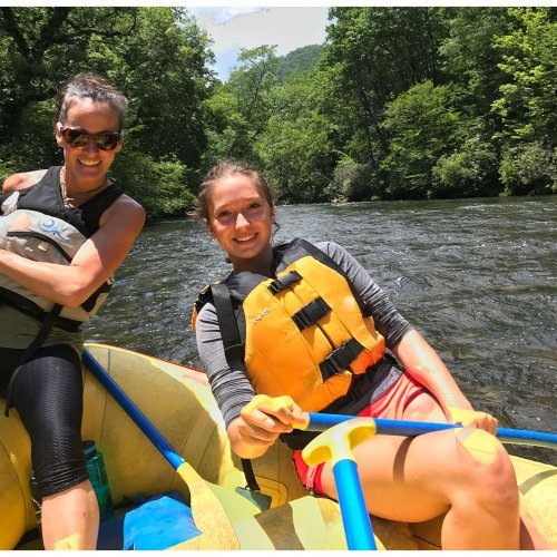 River guides for our family friendly whitewater rafting experience on the Nantahala River in Bryson City, North Carolina.